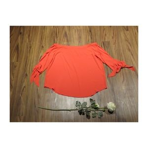 Chico's Coral Orange Off The Shoulder Top